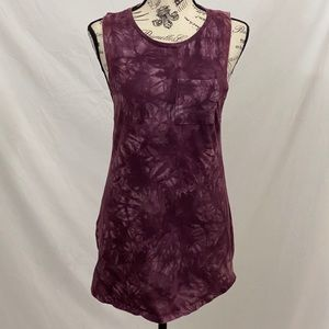 Empyre Ling Tie Dyed Long Purple Tank Size XSmall